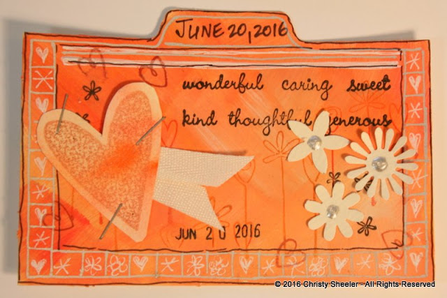 ICAD June 20, Orange gesso and watercolor background, stamped and punched details, silver pen, copper heart stamp.