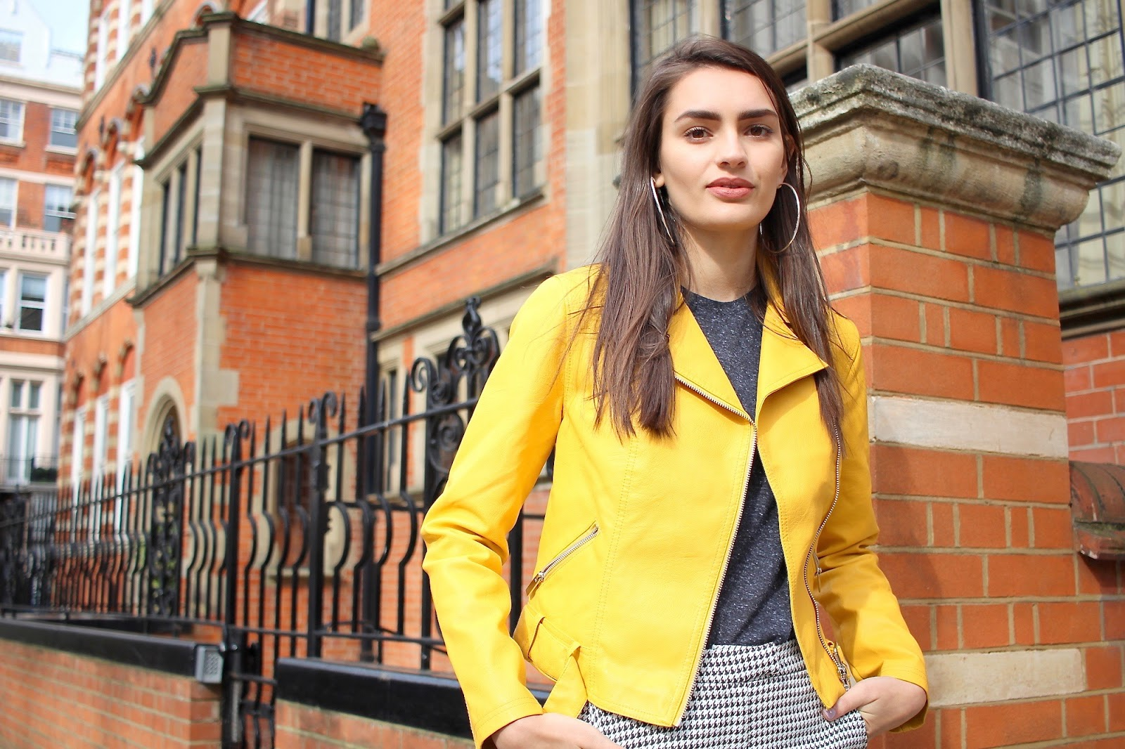yellow biker jacket peexo london style blogger
