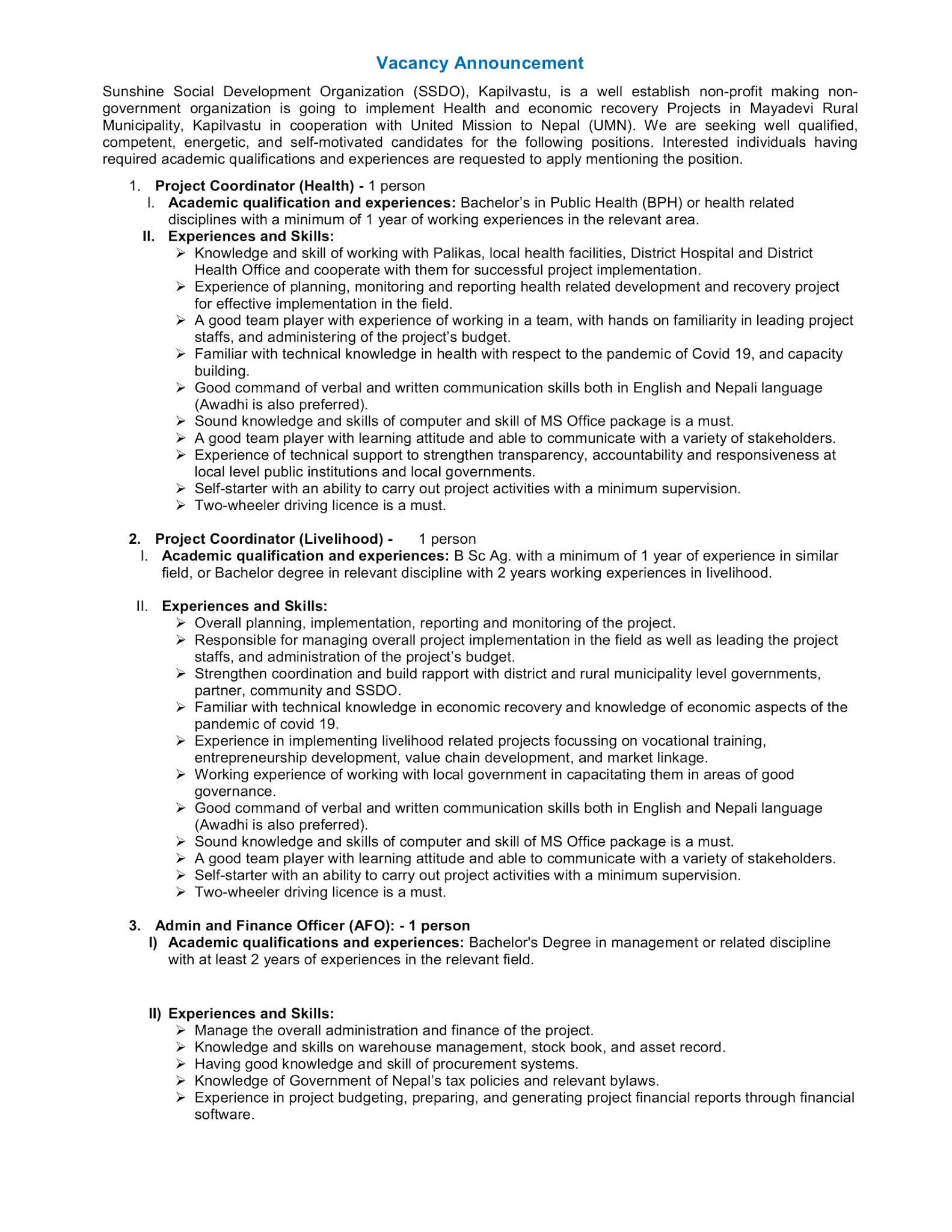 Sunshine Social Development Organization Vacancy for Various Positions