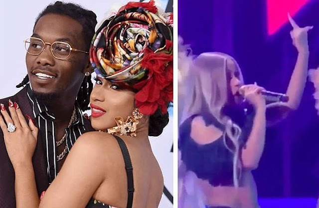Cardi B gives the middle finger while rapping about Offset