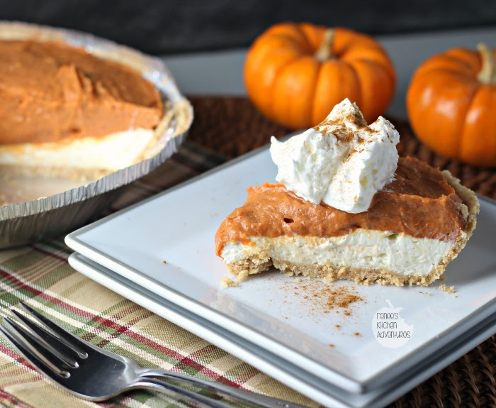 Double Layer No Bake Pumpkin Cheesecake | Renee's Kitchen Adventures   Double delicious with cheesecake and pumpkin!
