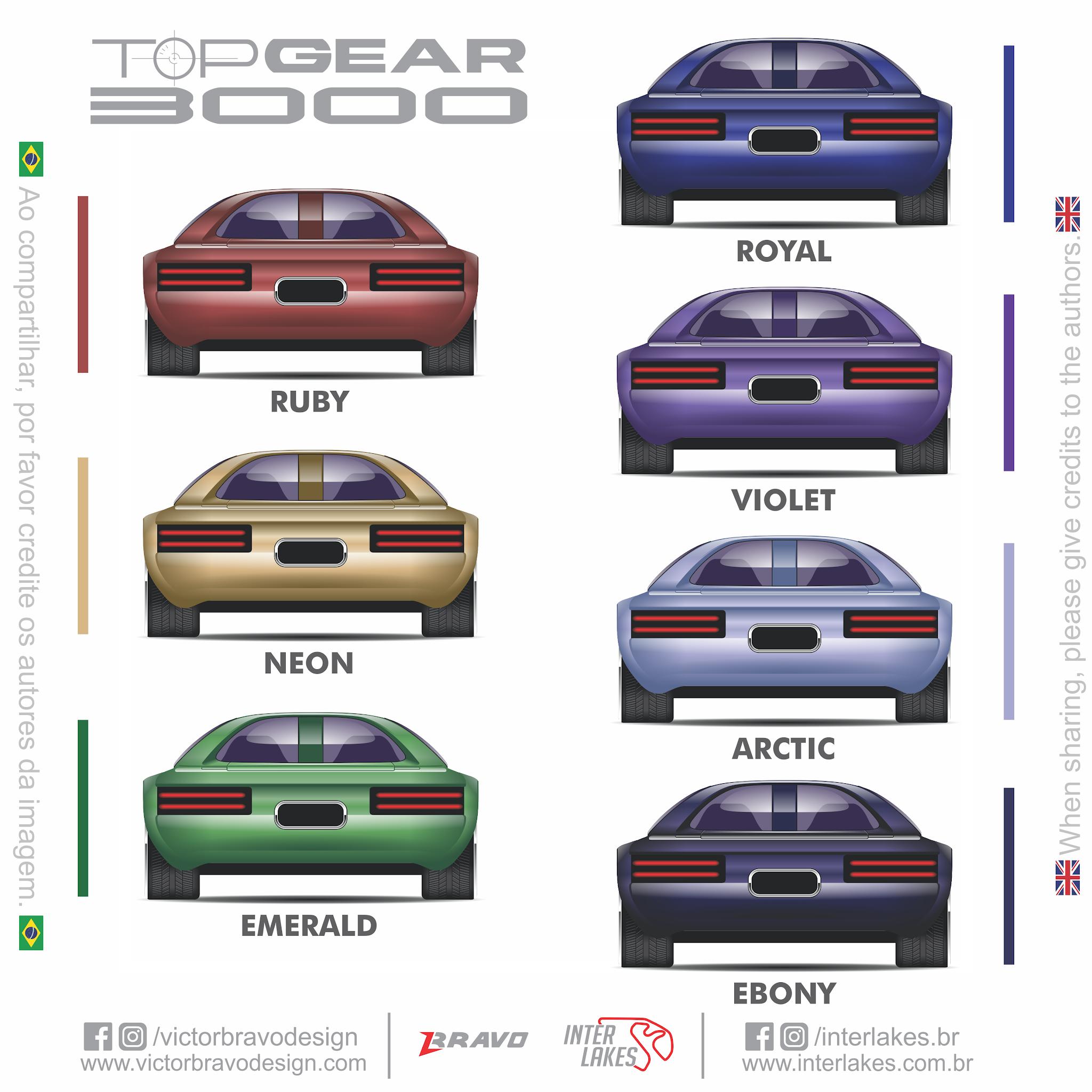 Imagem mostrando os desenhos com as cores do Kemco Top Gear 3000 ; Ruby, Neon, Emerald, Royal, Violet, Arctic, Ebony