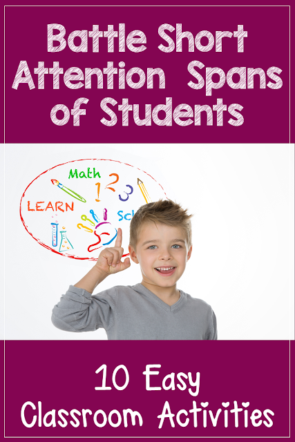 10 easy classroom activities to battle short attention spans of students in the classroom.  These activities can be used for any age or grade level in elementary school as well as homeschoolers.