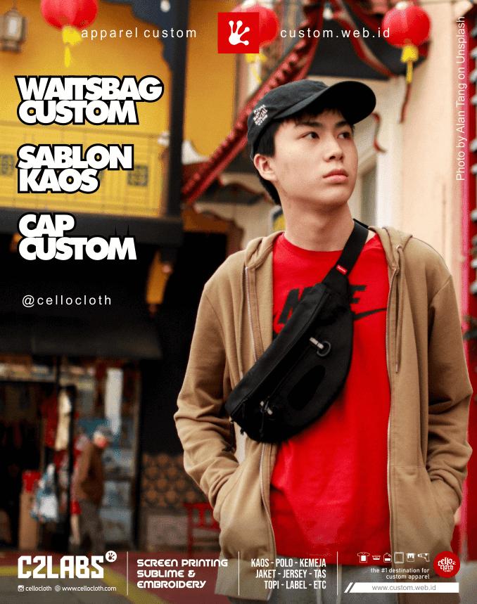 Sablon Kaos - Waistbag Bordir Custom - Topi Cap Bordir Custom - Jogja