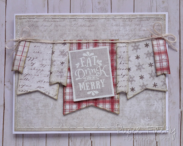 Christmas card with string of bunting, using Merry Messages stamps by LOTV