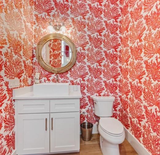 Coral Fan Wallpaper in Florida Home Bathroom
