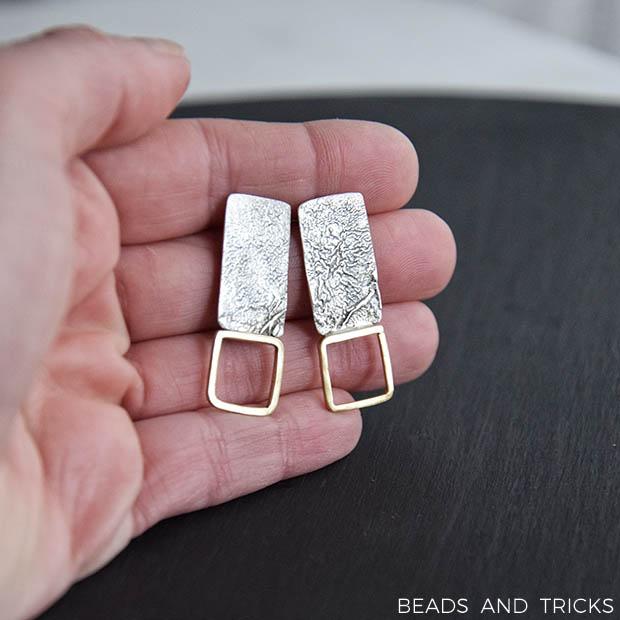 Orecchini a perno in argento e ottone
