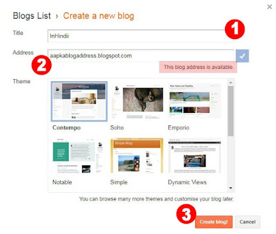 "Add your blog detail like ""Blog Title, Website URL Address, Blog Template (Theme)."