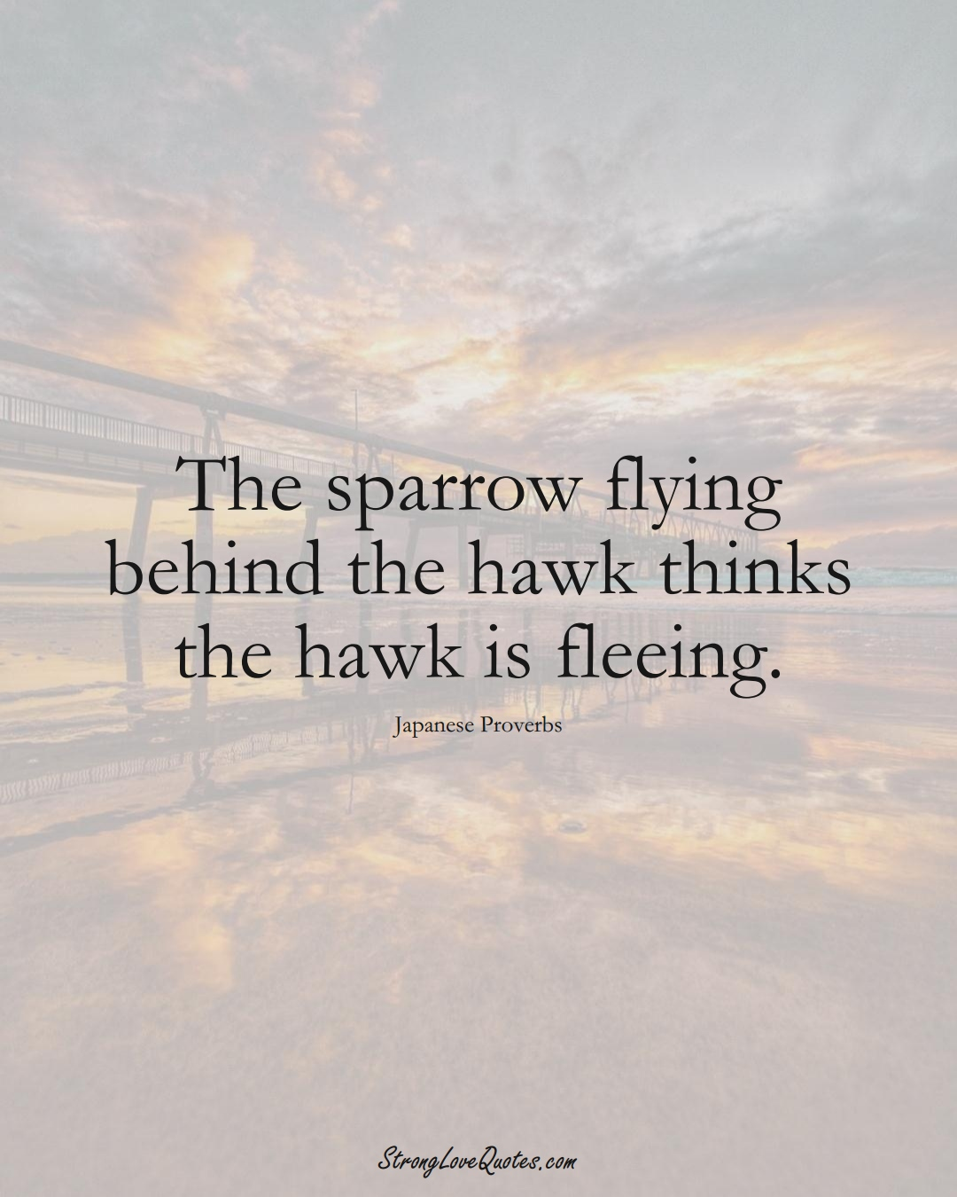 The sparrow flying behind the hawk thinks the hawk is fleeing. (Japanese Sayings);  #AsianSayings