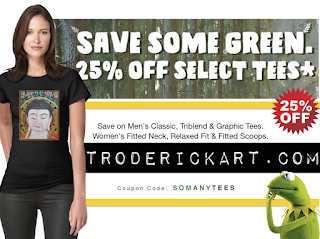 Save 25% off selected tees at troderickart.com promo