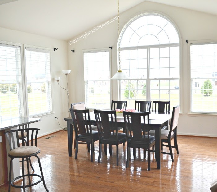 Old dark dining table and chairs