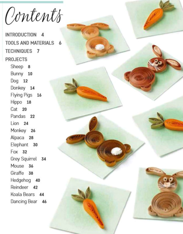 quilling book contents list shown with quilled rabbit and carrot gift tags