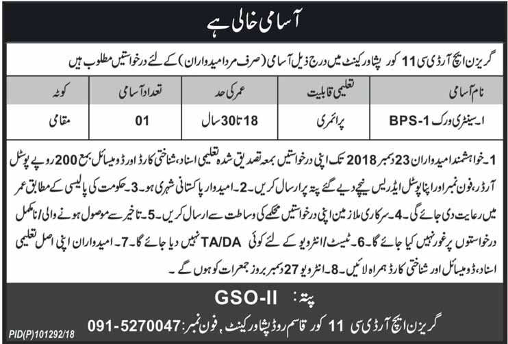 Sanitary Worker Jobs in Garrison HRDC 11 Corps Peshawar Cantt