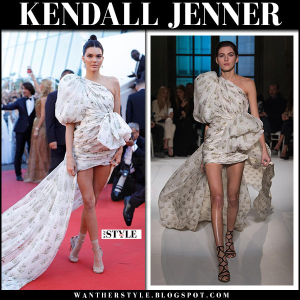 Kendall Jenner in white floral print one shoulder gown giambatistta valli Cannes red carpet may 20 2017 what she wore