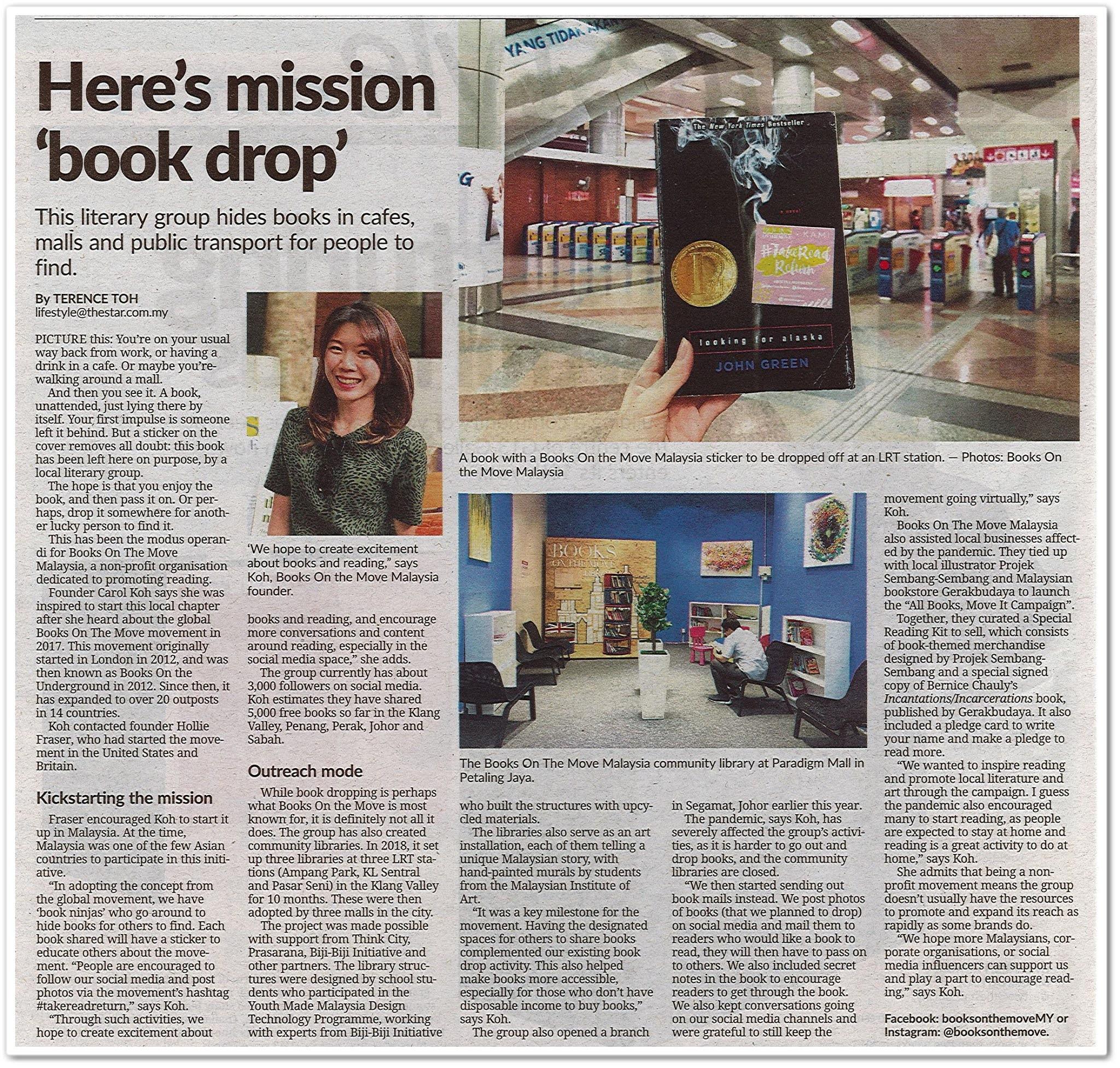 Here's mission 'book drop' - Keratan akhbar The Star 13 Oktober 2020