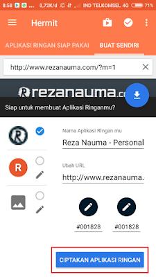 """Atur LOGO dan URL, kemudian pilih """"Ciptakan Aplikasi Ringan"""""""