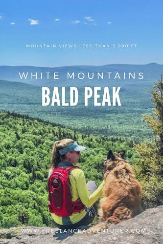 Enjoying a view with dog on Bald Peak, White Mountains