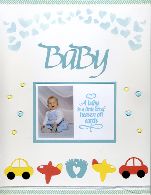 connie nichol, quietfire design, baby boy bendi card