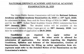 UPSC National Defense Academy NDA, Naval Academy NA Exam-1 Notification 2020 415 Govt Jobs Online