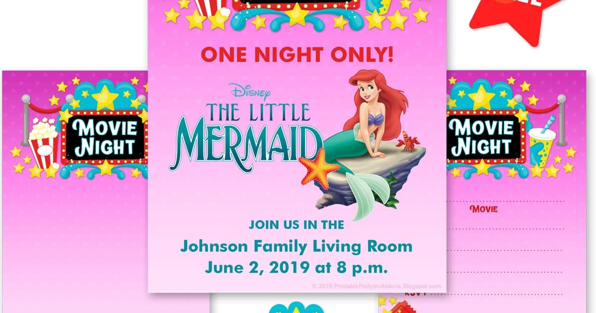 Free Printable Party Invitations Movie Night Background