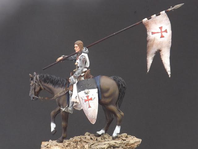 Templar Knight on Horseback c.XI - Andrea Miniatures 90mm Templar%2B11