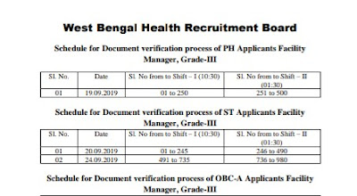 WBHRB Facility Manager Grade -III Document Verification