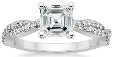 An Asscher cut diamond engagement ring