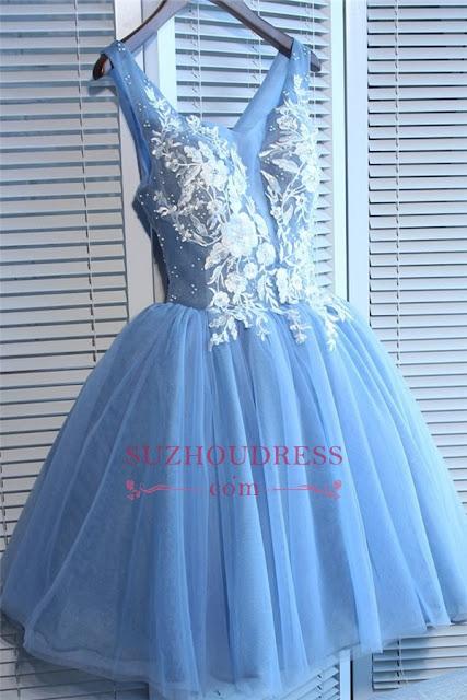 Elegant V-Neck Sleeveless Short Homecoming Dresses | 2019 Blue Appliques Hoco Dress Cheap