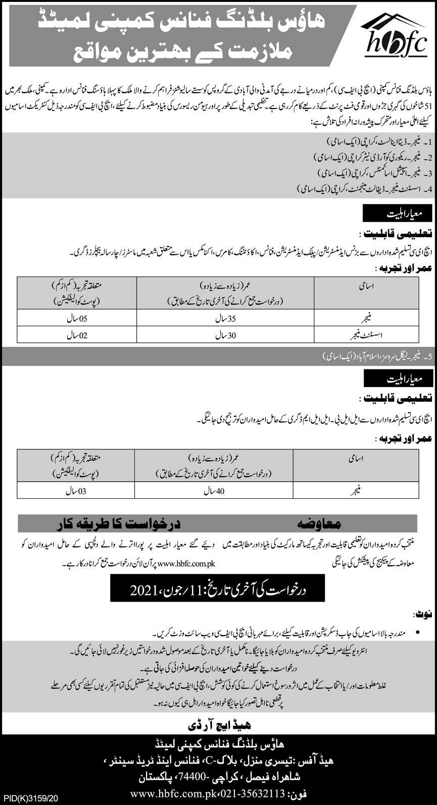 House Building Finance Company Limited (HBFC) Jobs 2021 in Pakistan