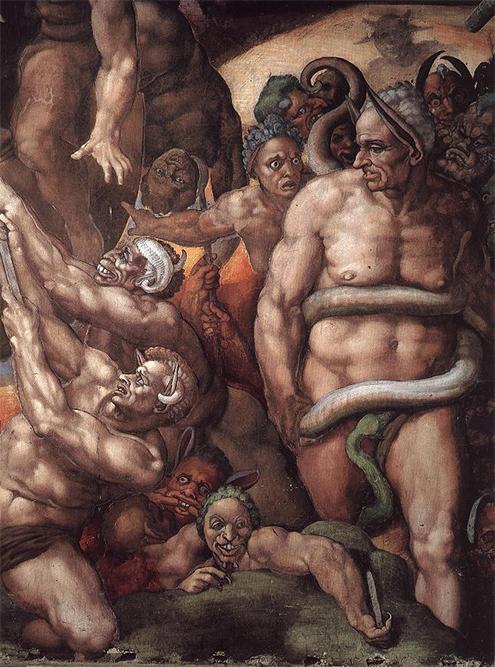 Capilla Sixtina de Miguel Ángel (Detalle de Biagio de Cesana a las puertas del infierno)