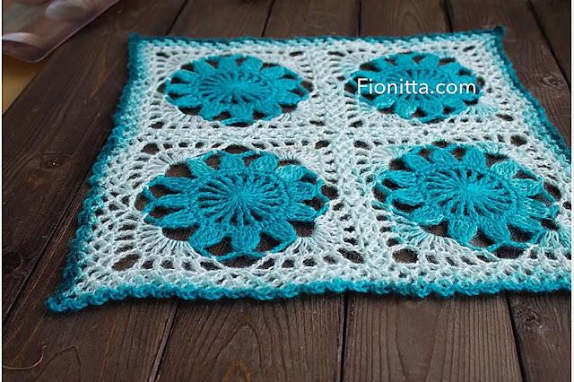 Patrón Tapete de Flores Azules a Crochet