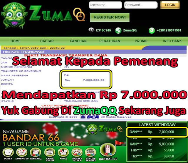 ZumaQQ Bandarq Online Selamat Kepada Pemenang Periode 18 Juli 2019