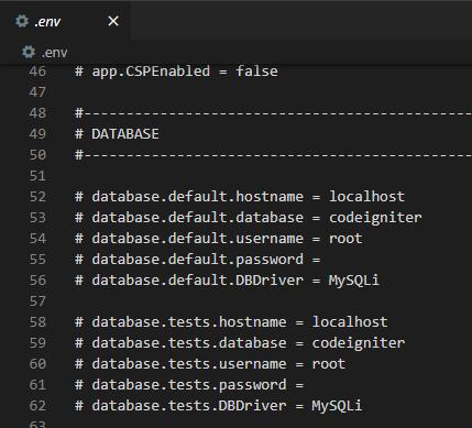 konfigurasi file .env codeigniter 4