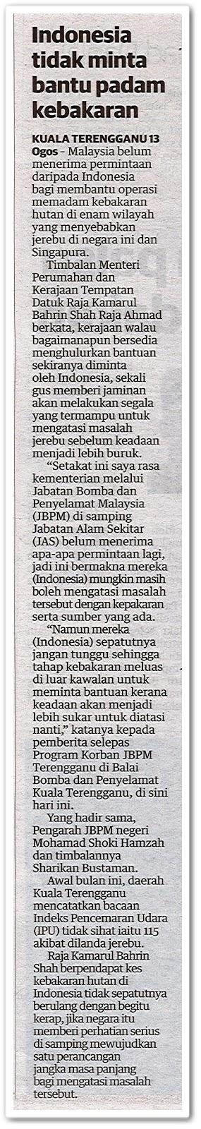 Indonesia tidak minta bantu padam kebakaran - Keratan akhbar Utusan Malaysia 14 Ogos 2019
