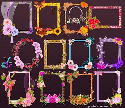 Decorative blossom photo frames png