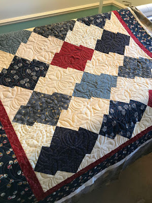 blue cream and red blocks make a Japanese puzzle quilt