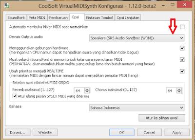 Cara Memainkan Midi Player Menggunakan Penyaring CoolSoft VirtualMIDISynth dengan Soundfont  SGM V2