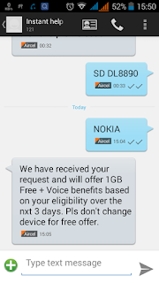 Aircel 1 GB offer- Get 1 Gb Data via sending 1 Message