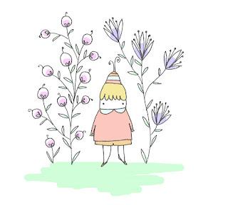 disegno di bambino tra i fiori