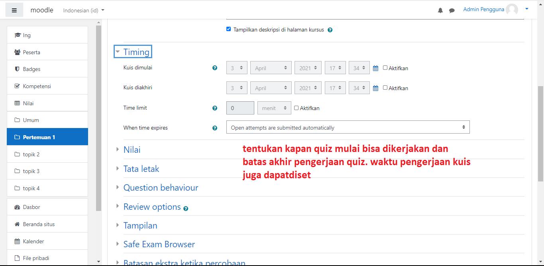 Cara membuat ujian online di moodle