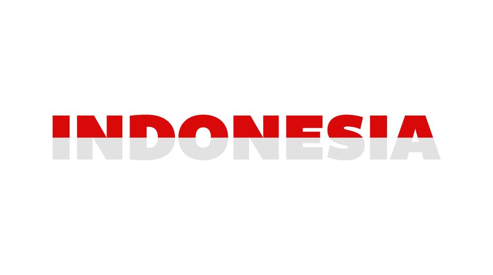 Bendera merah putih berada didalam tulisan indonesia
