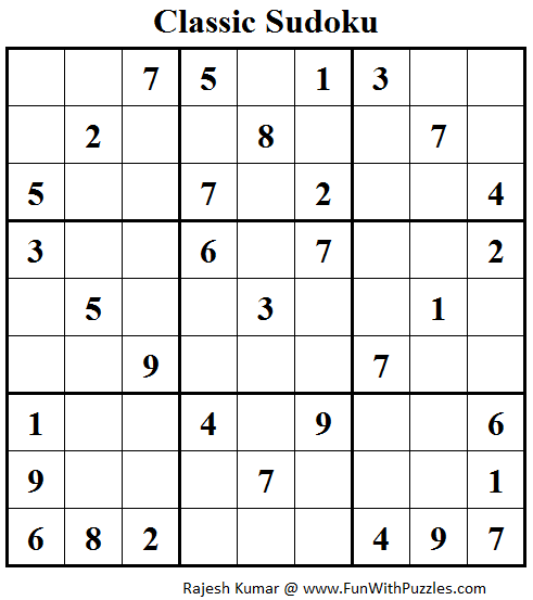 Classic Sudoku (Fun With Sudoku #95)