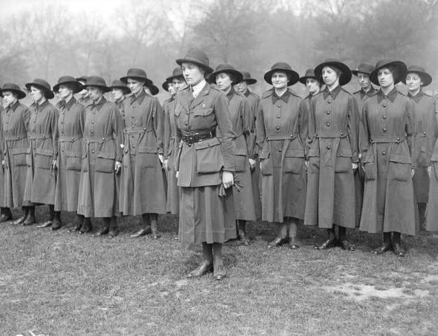 Women's Army recruits drilling. United Kingdom, 1917