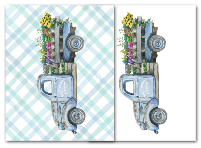 Printable Truck with Flowers