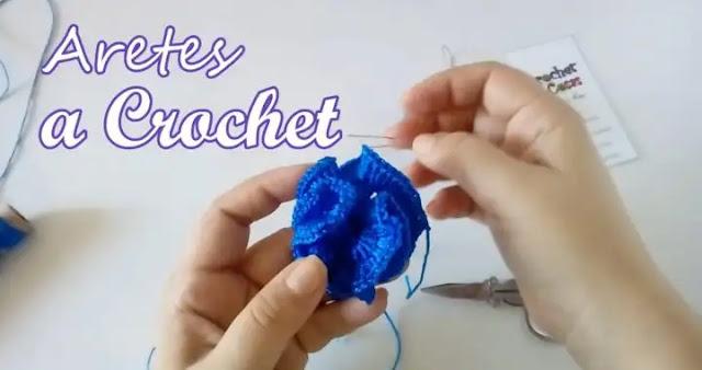 Como Tejer Aretes de Flor Rosa a Crochet
