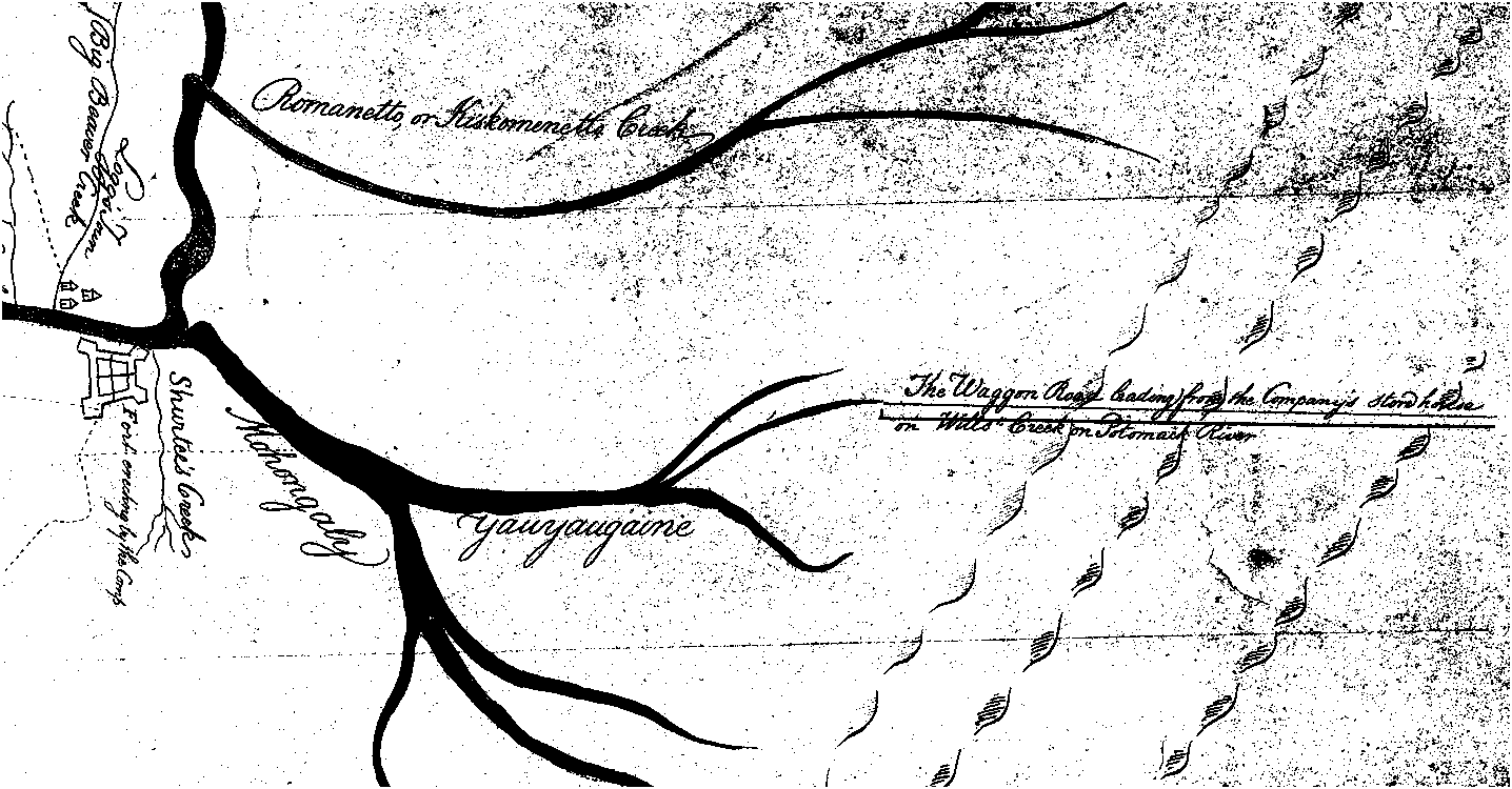 july 25 to 27 1753 the map shows a proposed ohio company fort at shurtee s chartiers 20 creek that was authorized for construction at the july 25 to 27