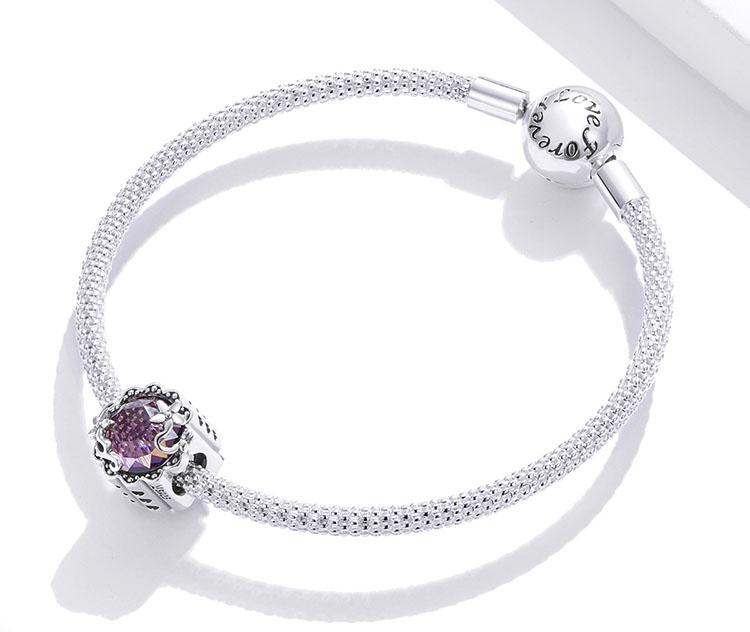 夢幻紫花鋯石 925純銀串珠鍊墜