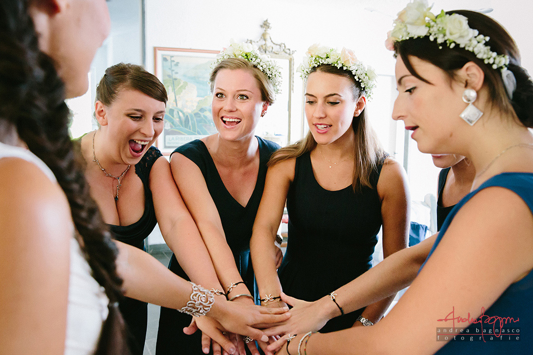 bride and bridesmaids italy wedding