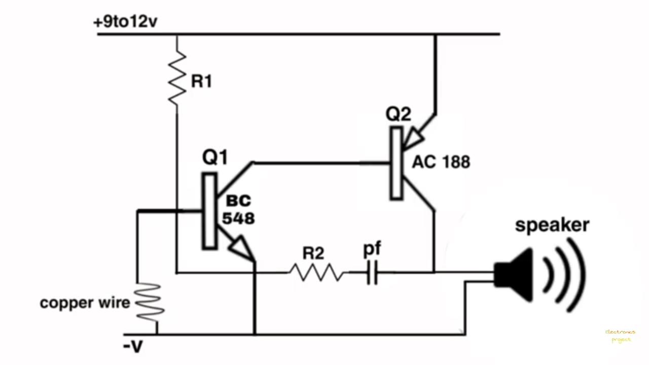 Electronics project: thief detector circuit diagram