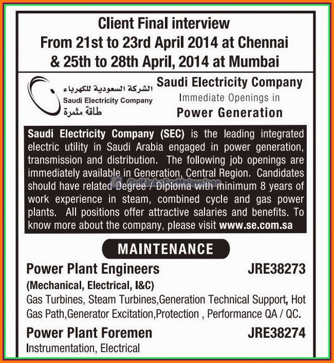 Saudi Electricity Company Job Opportunities - Inspirational